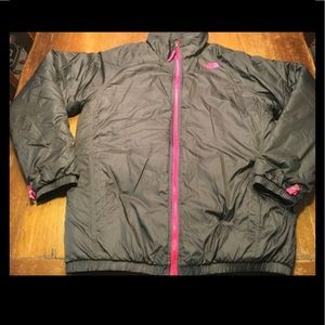 Girls North Face Black Puffer Coat Sz XL/18 EUC